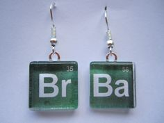 Handmade Breaking Bad inspired miniature glass tile earrings.