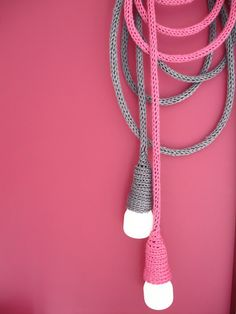 DIY idea for hanging lights with crocheted wires.