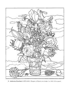 flower paintings, dover coloring