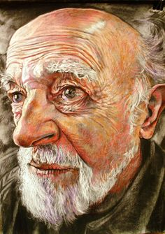 "David Newman-White; Oil Pastel, 2011, Drawing """"Jerome"""""
