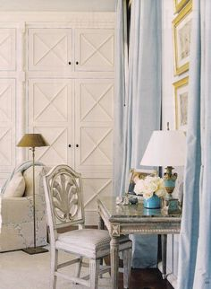 pale blue and white bedroom