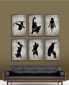 The Avengers Superheroes Iron Man, Hawkeye, Black Widow, Thor, Hulk and Captain America Superheroes A3 Movie Poster Set. $60, via Etsy