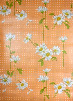 vintage wallpaper white daisies on orange
