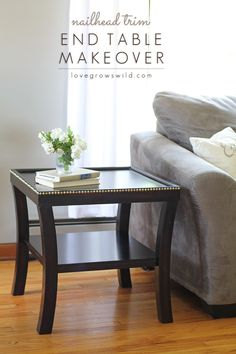 Give your furniture a high-end, custom look with nailhead trim! This method saves time & spaces nails out perfectly. Learn how at LoveGrowsWild.com