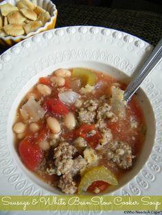 Sausage & White Bean Slow Cooker Soup   Who Needs A Cape? #slowcooker #souprecipes #7mealsin1hour #crockpot #freezermeals