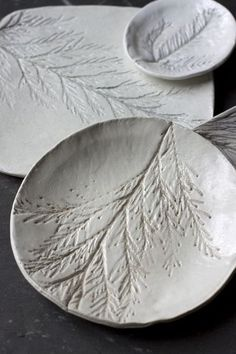 Evergreen Imprinted Clay Dishes @ Urban Comfort -- I have a soap dish, for the kitchen, that my mom brought back to me as a souvenir.  I still use it to this day.  I may try making these myself.
