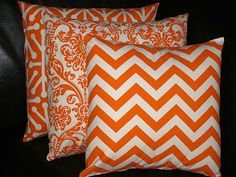 ORANGE Pillows TRIO chevron damask  jacks by LittlePeepsHomeDecor, $46.00