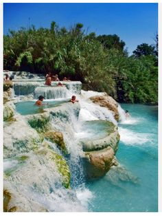 Mineral Salt Baths in Terme di Saturnia in Tuscany, Italy...