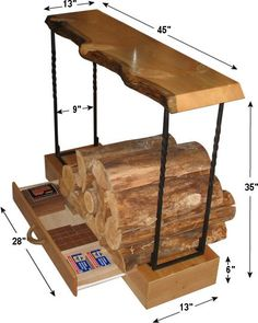 Rustic indoor firewood rack (note: scroll down on webpage for free pdf download)