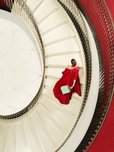 staircase, red gown