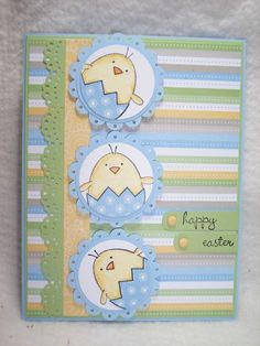 handmade Easter card ... sweet pastels ... trio of scallop matted circles with image of chick emerging from shell ... cute!!
