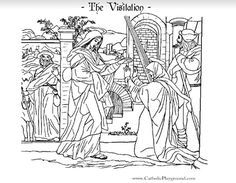 The Visitation Catholic coloring page.  Mary visits her cousin Elizabeth