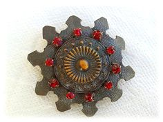 Vintage brooch black and red jewerly 1960s di UnderCommunism, $10.00
