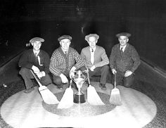 Lethbridge Curling Team, 1941 (great hats, chaps!). #vintage #1940s #Canada #sports