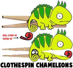Clothespin Chameleons