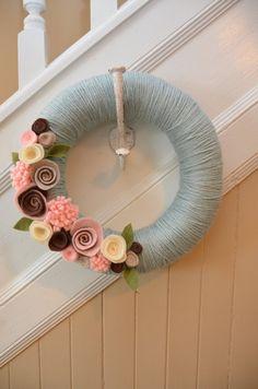 12 inch EASTER BLUE Yarn Covered Straw Wreath by GoshYarnItWreaths, $32.00