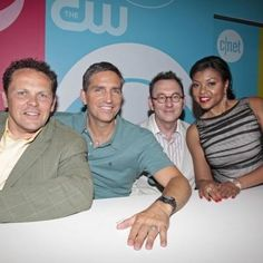Jim with the cast of Person of Interest. Best show on t.v. today! <3