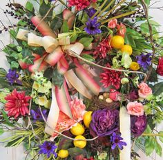 Brand New Door Wreath Lemons, Gerbers, Dahlias, by http://www.LadybugWreaths.com, $249.97