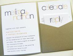 Modern pocketfold wedding invite.