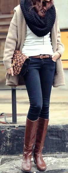 Brown boots, white shirt, tan oversized sweater, black scarf and leopard bag.