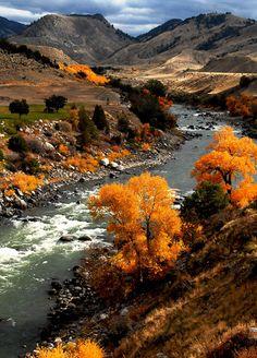 Fall at Yellowstone River USA