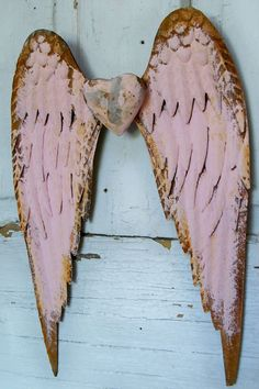 Metal angel wings pink rusty with heart shabby by AnitaSperoDesign, $120.00