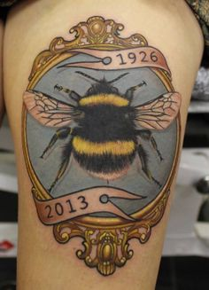 The bee is a universal symbol of diligence, obedience, and the work ethic. Who does the be represent in your life? (tattoo by Phatt German) #bee #tattoo #tattoos #InkedMagazine #inked #insect