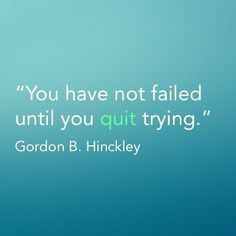 """""""You have not failed until you quit trying."""" -- Gordon B. Hinckley"""