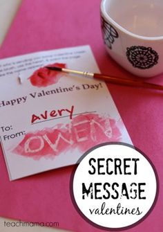 secret message valentines: homemade, candy-free, totally cool | free printable and instructions on teachmama.com