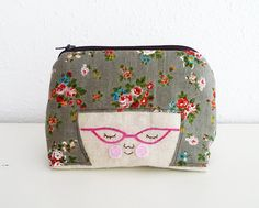 Zipper Pouch Girl with Glasses by CookieCutterEtsy on Etsy, $30.00
