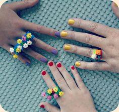 LEGO Rings - loving the flower ones!