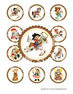 Vintage CowBoy CowGirl West Wild Celebrate Tea Story Book Cupcake Cake Topper Circle Label Stickers Tags Digital Collage Sheet Images Sh077. $3.50, via Etsy.
