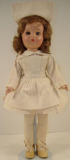 "Vintage1940s 12"" Effanbee Portrait Composition Nurse Doll All Original"