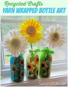 #DIY Recycled Crafts- Yarn Wrapped Bottle Art! What a great gift to make and give!!