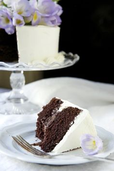 floral fudge cake with mousse whipped cream