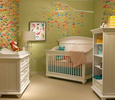Origami nursery!  I totally considered this for M's nursery years ago.  That wall is insanely beautiful.