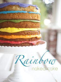 Rainbow naked cake for a birthday