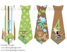 Blue Green & Brown Zoo Inspired Ties Boy Monthly by deeneysdesigns, $9.99