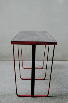 MARIN ELSAESSER, STEEL AND LACQUERED WOOD TABLE: from frankfurt market hall, circa 1935.