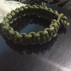 This is my version of the parachute cord bracelets.  I love it!! I plan to make more in different colored cords :-)