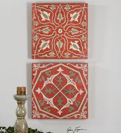 Moroccan Tiles Canvas Wall Art, S/2