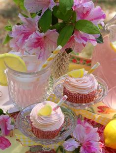 Pink lemonade and pink lemonade cupcakes!