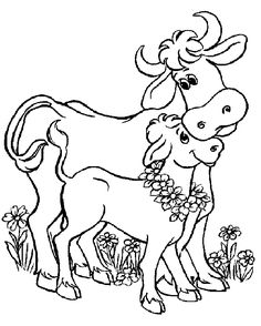 Cow and calf coloring pages
