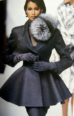 Christian Dior the new look peplum coat in shades of grey