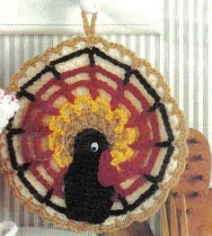 free crochet Thanksgiving Turkey Potholder