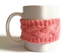 Mug Cozy Coffee Cozy Coffee Sleeve Cup Cozy Cable Knit in Strawberry Pink $15