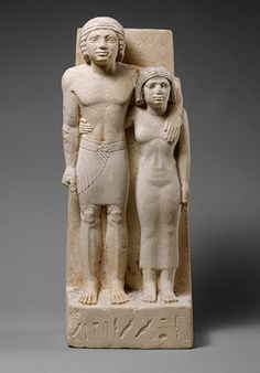 Statue of Memi and Sabu, Old Kingdom, Dynasty 4, ca. 2575–2465 b.c.  Egyptian; Probably from Giza  Painted limestone   Pair statues, usually depicting a husband and wife, were frequently placed in a serdab, the hidden statue chamber often found in nonroyal tomb chapels of the Old Kingdom. The Egyptians believed that the spirit of the deceased could use such a statue as a home and enter it in order to benefit from gifts of food that were brought to the offering chapel of the tomb.