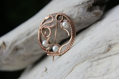 First Frost Copper and pearls shawl pin