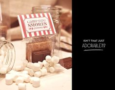 DIY S'Mores & Hot Cocoa Kit: Posted on a wedding blog, but what a great idea for inexpensive Christmas gifts for co-workers and neighbors, or for party favors!