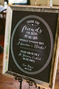 chalkboard welcome sign by lauren haddox design #bridalshower #weddingsign http://www.weddingchicks.com/2013/11/21/peach-and-mint-bridesmaid-luncheon/